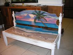 sorry this one is  ~~  SOLD  ~~  this is an example of my Upcycled Hand Painted Beach Benches.  by JeanosArt, $947.00