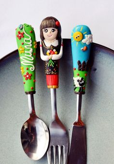 Folklore Personalized Baby Cutlery Set Nature by RadArtaDesign