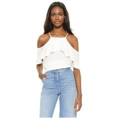 Ella Moss Stella Cold Shoulder Blouse (2.896.540 VND) ❤ liked on Polyvore featuring tops, blouses, white, off shoulder tops, ruffle blouse, white tops, off shoulder blouse and off the shoulder ruffle blouse