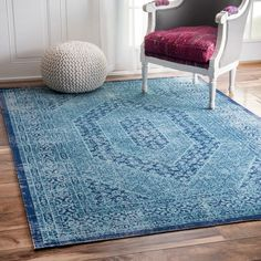 nuLOOM Vintage Persian Distressed Blue Rug (8' x 10') (Blue), Size 8' x 10' (Cotton, Oriental)
