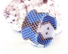 Arrows Bows, Miyuki delica band ring, Chevron geometric, Denim blue white silver, Peyote band ring, Handwoven, peyote statement ring