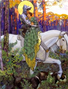 The artwork The Legend of Saint George: The Rescue - Maximilian Liebenwein we deliver as art print on canvas, poster, plate or finest hand made paper. Art And Illustration, Illustrations, Kunst Inspo, Art Inspo, Fantasy Kunst, Fantasy Art, Roi Arthur, Knight Art, Fairytale Art