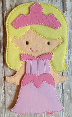 Sleeping Beauty Dress Felt Doll Outfit by NettiesNeedlesToo, $8.00...dress up doll in felt