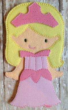 Sleeping Dress Felt UnPaper doll and dress by NettiesNeedlesToo, $12.00
