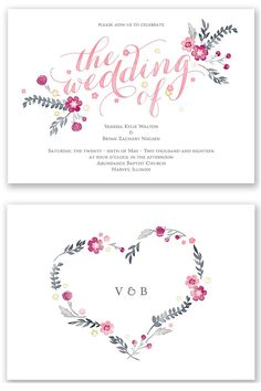 Capture the essence of your boho style wedding with these floral wedding invitations featuring a watercolor design above your wording on the front and with your monogram on the back.