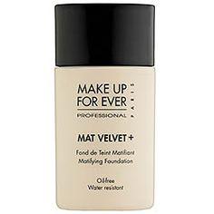 MAKE UP FOR EVER - Mat Velvet + Matifying Foundation- $36.00   Good coverage, oil free