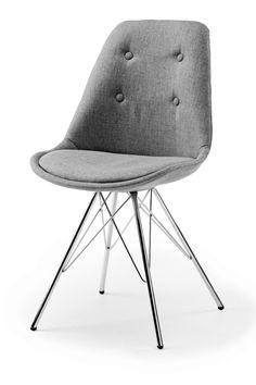 B: 49,5 x H: 44,5 x D: 55 cm Smart og enkel spisebordsstol monteret med antracit farvet stof i 100% polyester, som gør stolen komfortabel at sidde i. Benene er