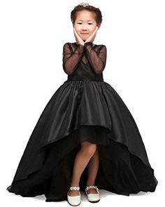 CEZOM Black Tulle Flower Girl Dresses High Low Pageant Gowns with Long Sleeves