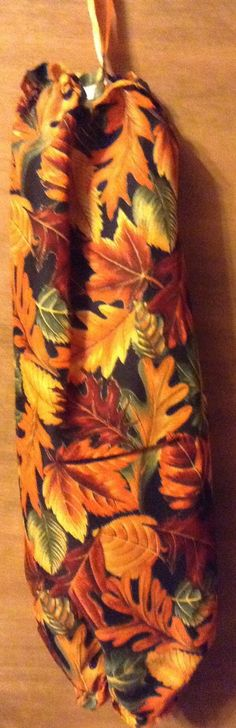 Plastic Bag Holder fall leaves by CydsCreations on Etsy