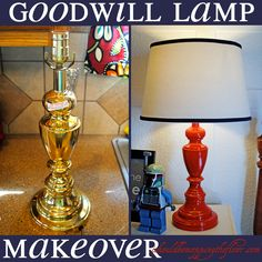 Not sure how much the special spray paint would cost but if not too expensive then this is good idea: Goodwill Lamp Makeover #brassytosassy