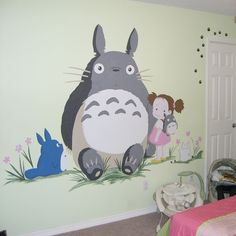 Loved painting Totoro. I made it the girl's room with pink and green. Such a pure hearted story.