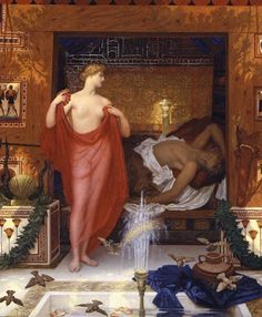 Sir William BLAKE Richmond : Héra dans la maison d'Héphaistos, 1902. (29 November 1842 – 11 February 1921), was a portrait painter and a designer of stained glass and mosaic, whose works include mosaic decorations below the dome and in the apse of St Paul's cathedral in London.  He was named after a close friend of his father, the artist William Blake.