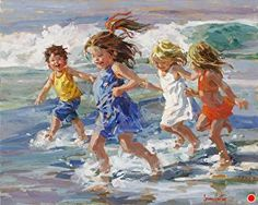 Racing the Tide von Corinne Hartley Oil ~ 24 x 30 - Painting People, Figure Painting, Painting & Drawing, Illustration Art, Illustrations, Beach Artwork, Anime Comics, Portrait Art, Beautiful Paintings