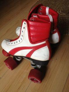 Vintage 70's Marco Polo Warrior Disco Roller Skates WHITE & RED Size 5