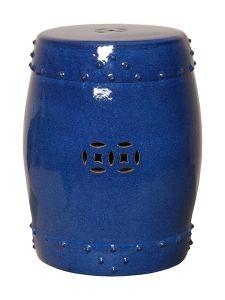 Drum Garden Stool - Large Blue
