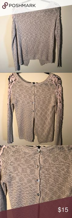 Beautiful light sweater for spring! Size Small BEAUTIFUL BEIGE SWEATER FOR SPRING TIME gorgeous details with button and open back EUC brand is love tree happens... (boutique brand)  Smoke and pet free home! love tree happens... Sweaters Crew & Scoop Necks