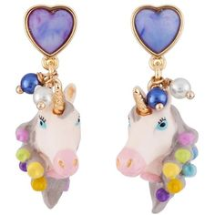 Les Nereides Unique Unicorn Face With Hair Curler In Its Mane Earrings ($73) ❤ liked on Polyvore featuring jewelry, multicolor, 14 karat gold jewelry, multi colored jewelry, les nereides jewelry, animal jewelry and colorful jewelry