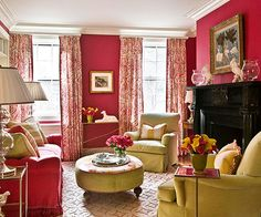 Fully embracing a preppy spirit, this room unabashedly displays pink and green on walls and furnishings: http://www.bhg.com/decorating/color/schemes/what-color-goes-with-pink/?socsrc=bhgpin052914hotpink&page=8