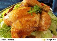 Šťavnaté bylinkové kuře pečené na hrubé soli recept - TopRecepty.cz