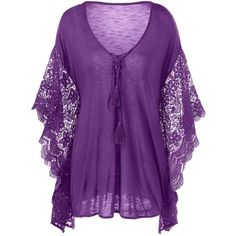 Plus Size Butterfly Sleeve Crochet Trim Blouse Lace Tops ($17) ❤ liked on Polyvore featuring tops, blouses, womens plus tops, purple plus size tops, purple lace top, lace top and plus size lace blouse Plus Size Blouses, Plus Size Tops, All Things Purple, Purple Lace, Crochet Trim, Kebaya, Lace Tops, Tunic Tops, Butterfly