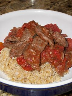 Italian Beef over Rice uses round steak looks delish