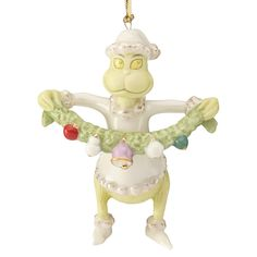 Lenox Christmas ornament - Grinch Stealing the Garland is a hand painted porcelain Disney Christmas ornament from 'How the Grinch Stole Christmas. Lenox Christmas Ornaments, Grinch Christmas Tree, Grinch Ornaments, Christmas China, Christmas Ornament Wreath, Hanging Christmas Tree, Disney Ornaments, Very Merry Christmas, Christmas Love