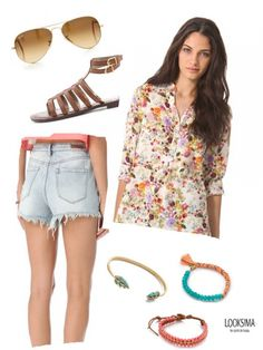 A vintage looking floral top with distressed high waisted jeans, complete with earthy arm candy and Ray Bans.