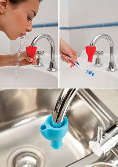 The TAPI by Dreamfarm turns any faucet into drinking fountain! Just attach the rubber nipple to any faucet, squeeze and voila! You have a very colorful inexpensive water fountain. An easy solution for toddlers or those with neck disabilities.