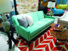 A sofa with potential: Ideas for reupholstering a mid century sofa found at an estate sale. What fabric to select to make it modern and chic. Outdoor Sofa, Outdoor Furniture, Outdoor Decor, Mid Century Sofa, Pastel Colors, Upholstery, Furniture Market, Couch, High Point