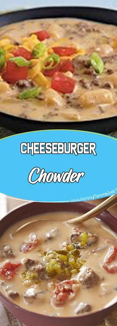 Cheeseburger Chowder Via #yummymommiesnet #dinnerrecipes dinner recipes #copycatrecipe copycat recipe #easyrecipes easy recipes #dinnertime dinner time #easydinner easy dinner recipes for family #dinner dinner