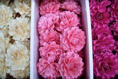 Pink Ribbon -The  Full Bloom Dahlia Handmade Paper Flower   - Light Pink -  set of 50 flowers   - Custom color available