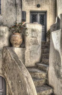 Steps in Pyrgos Village, Santorini: