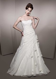 A-Line/Princess Strapless Neckline Chapel Train Taffeta Wedding Dress With Hand-Made Flower