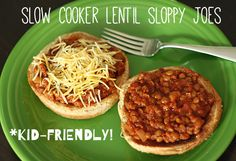 Kid-friendly, slow cooker lentil sloppy joes -- cook 17 min in pressure cooker. Vegan Crockpot Recipes, Lentil Recipes, Slow Cooker Recipes, Cooking Recipes, Vegetarian Cooking, Vegetarian Recipes Kid Friendly, Italian Cooking, Oven Recipes, Easy Cooking