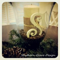 dinner table center piece idea. love this.
