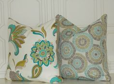 Teal Turquoise Tan Decorative Floral 18x18 Home by PillowPillow, $24.00