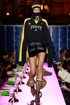 """Rihanna schooled the fashion crowd, forget detention, I give Rihanna a grade A. Her """"Detention"""" themed Fall 2017 FENTY x PUMA Ready to Wear collection in a Hollywood-worthy production at the Biblio… Fashion Kids, Sport Fashion, Urban Fashion, Fashion Models, Fashion Show, Autumn Fashion, Womens Fashion, Fashion Design, Fashion Week Paris"""