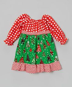 Take a look at this Green & Red Pattycake Dress - Toddler & Girls by Beary Basics on #zulily today!