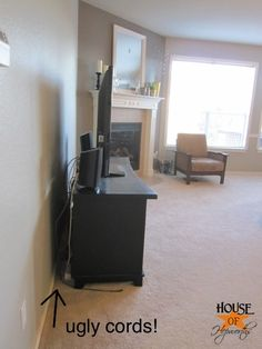 Mounting your tv to the wall and hiding the cords Hide Tv Cords, Tv Wall Panel, Tv Wand, Lounge, Wall Mounted Tv, Organizing Your Home, Interior Walls, Home Hacks, Entertainment Center