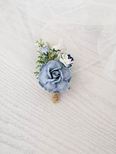Boho Wedding Flowers, Bridal Hair Flowers, Flower Crown Wedding, Blue Boutonniere, Rustic Boutonniere, Groomsmen Wedding Photos, Pale Pink Weddings, Bridesmaid Corsage, Flower Hair Pieces