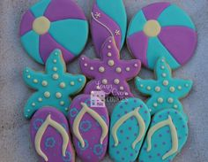 Beach Theme Starfish Decorated Sugar Cookies - 1 Dozen / Surf Boards / Sandals / Beach Ball by Lovin Oven Cookies on Gourmly
