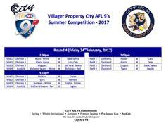 City AFL 9's Summer Competition Week 4 Fixtures #CityAFL9s