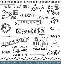 Doodle Words Clipart Clip Art, Typography Word Subway Art Clip Art Clipart Vectors - Commercial and Personal Use - Ideas In Crafting Doodle Inspiration, Bullet Journal Inspiration, Doodle Ideas, Journal Ideas, The Words, Doodle Lettering, Calligraphy Doodles, Doodle Art Letters, Doodle Fonts