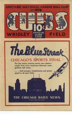 This page contains an image of a Wrigley Field Chicago Cubs scorecard from the 1929 season. Wrigley Field Chicago, Chicago Cubs Fans, Chicago Area, Mount Prospect, Cubs Win, Go Cubs Go, Cubs Baseball, Sports Logos