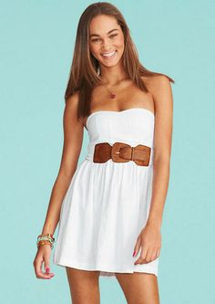Strapless linen dress with adjustable/removable belt. Back zipper for better fit.