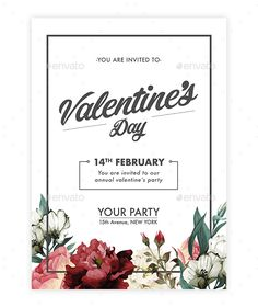 Buy Valentine's Day Floral Invitation by on GraphicRiver. This floral Valentine's day invitation can be use for your party, event, and workshop at valentine's day. Very easy t.