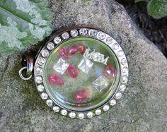 Genuine Ruby charm locket, gifts for her, floating  charm locket necklace, genuine white topaz, birthday mom,  women's keepsake necklace