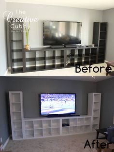 IKEA Expedit Makeover with Beadboard - The Creative Cubby --- A brilliant transf. - IKEA Expedit Makeover with Beadboard – The Creative Cubby — A brilliant transformation! Her bl - Nerd Room, Gamer Room, Boys Game Room, Game Room Basement, Playroom, Small Game Rooms, Painting Ikea Furniture, Gaming Room Setup, Gaming Rooms