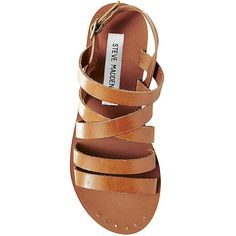 Steve Madden Women's Auuria Sandals ($35) ❤ liked on Polyvore featuring shoes, sandals, cognac le, steve madden, leather flat shoes, leather sandals, cognac sandals and leather flats