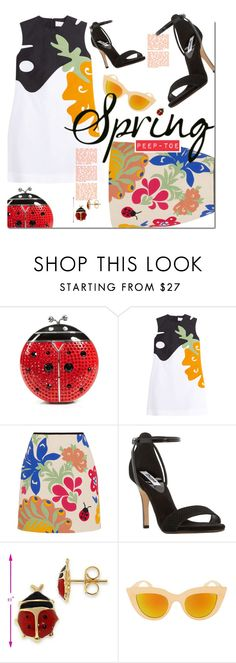 """""""Fly Away Home."""" by s-elle ❤ liked on Polyvore featuring Kate Spade, Victoria, Victoria Beckham, Dune, Spring, floral, peeptoe, ladybug and spring2016"""